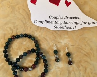 USA FREE SHIPPING- Couples' Bracelets Genuine Gemstones