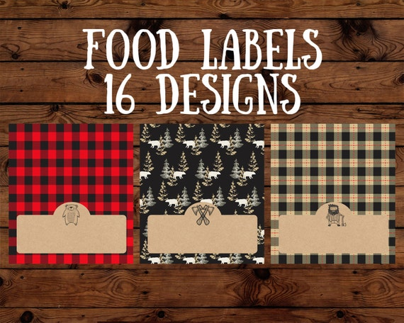 Lumberjack Birthday Party Food Labels Baby Shower Camping