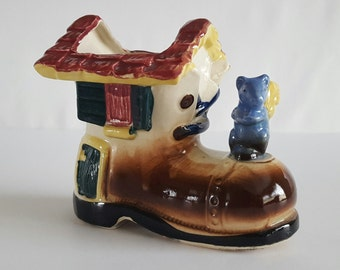 Vintage Shafford Planter Hand Decorated Boot or Shoe House and Squirrel