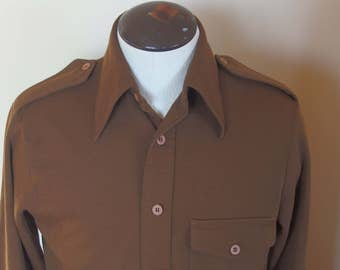 Vintage 1970s Fitted Double Knit Shirt with Epaulettes