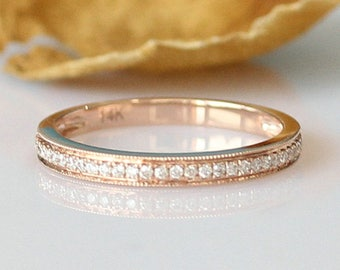 Perfect Match Ring!!!Half Eternity Diamond Band 14k Rose Gold Wedding Band Anniversary Ring Diamond Ring Rose Gold Ring Diamond Wedding Ring