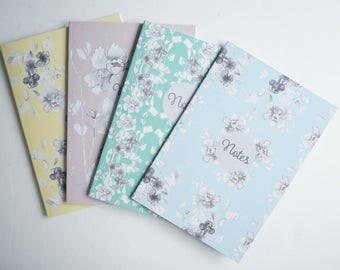 Spring Floral Notebook, A5 size available in pink, blue, aqua and yellow