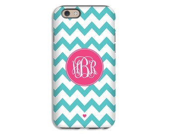 Monogram iPhone 7/7 Plus case, aqua chevron iPhone SE case, monogram iphone cases for girls, iphone 6s/6s Plus/6/6 Plus/5s/5 cases