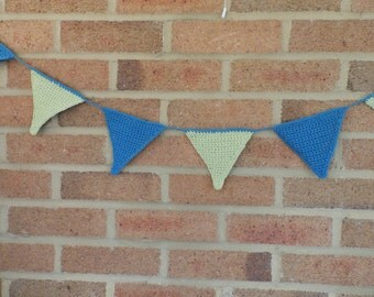 Blue and Green Crochet Bunting