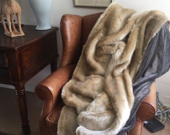 Luxury Faux Fur Champagne Throw/Blanket