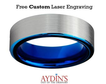 Tungsten Wedding Band Ring 6mm for Men and Women Comfort Fit Blue Pipe Cut Brushed Tungsten Carbide Wedding Ring