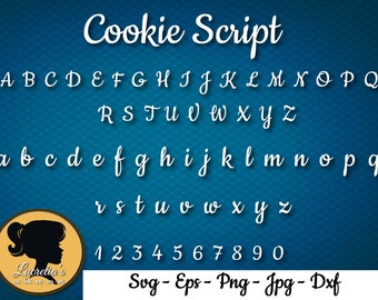 Cookie Script font svg - Cookie font silhouette - (zipped .eps .pdf .dxf .svg and .studio file) vector cutting files
