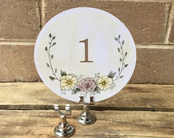 Rustic floral table number set 1-12 (clips/stands sold separately)