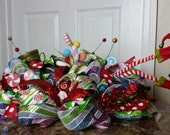 Christmas in July Sale, Deco Mesh Christmas Elf Centerpiece