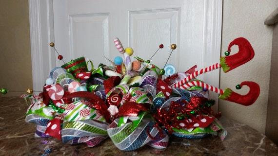 Deco mesh christmas elf centerpiece by wreathsbycrazylady