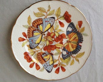 Limoges Hand Painted Butterflies and Flower Plates, Email De Limoges L Godinger.