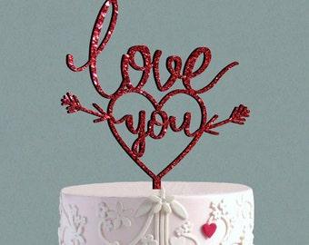 LOVE YOU Cake Topper Wedding Cake Topper,  Love sign Love Topper  Wedding Cake Decor, Heart Topper Valentine  Be mine Day Cake Topper