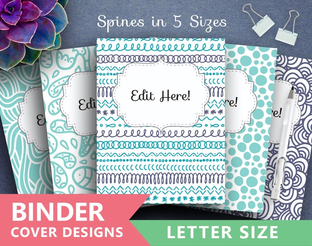 Binder Cover Printable: BLUE DOODLES Print Binder