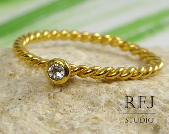 Natural White Topaz Rope Gold Ring, April Birthstone 24K Yellow Gold Plated Ring, 2 mm Round Cut Genuine White Topaz Braided Golden Ring
