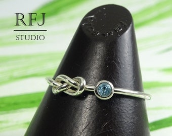 Natural Swiss Topaz Infinity Knot Ring, Blue December Birthstone Sterling Eternity Knot Ring, Silver Knot Ring, Love Promise Friendship Ring