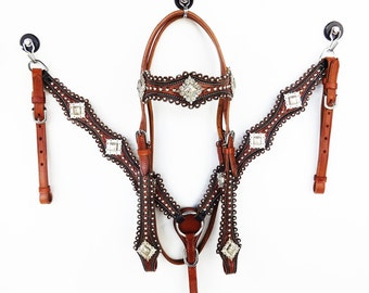 Handmade Western Horse Trail Barrel Show Headstall Leather Bridle Breast Collar Plate Tack Set Made To Order
