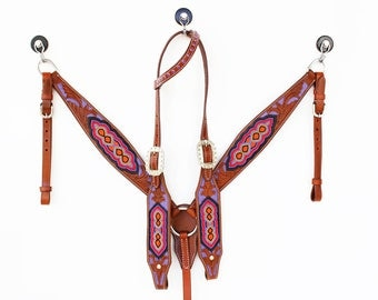 Hand Beaded Tooled Painted Western Barrel Trail Horse Bridle Leather Headstall Breast Collar Tack Set