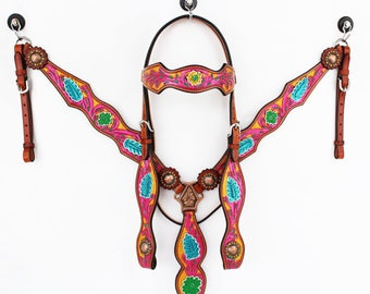 Pink Yellow Hand Painted Floral Fringe Bling Western Leather Cowboy Show Horse Bridle Headstall Breast Collar Tack Set