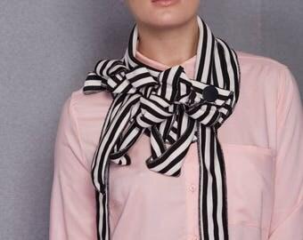 Casta - Blush and Black Striped Scarf, Unusual Collar, Button and Go
