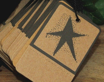 100 Primitive Black STAR Kraft Hang Tags , Perforated & Pre-Strung , Heavy Card Stock, Rustic Weddings, Favors, Gift Wrap