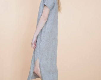 Linen dress in natural soft stripe fabric with split back