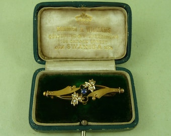 Victorian 15K Gold Bar Brooch Split Pearls Sapphire Boxed Hallmarked Antique