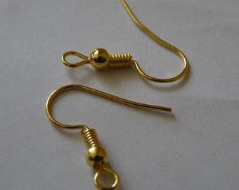 Gold Earring Hooks, Gold Plated  Earring Wires French Hooks, Ball and Coil Ear Wires, Earring Findings, Earring Components, Earring Findings