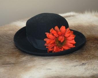 Arlin Women's Black Wool Hat with flower,vintage hat, 1960's Ladies' Hat
