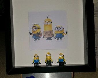 Minions Lego 3d Frame Kevin Stuart Bob edition present gift minnions Brick Figure Art, Framed Gift,