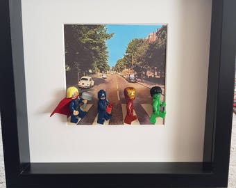 The Avengers Beatles Abbey Lane Lego 3D Picture Frame Present Gift Custom Thor, Captan America, Iron Man, Hulk