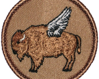 Flying Buffalo Patch (092) 2 Inch Diameter Embroidered Patch