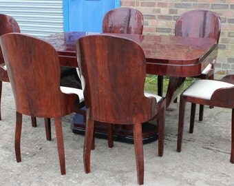 Antique Art Deco Style Furniture - Table With 6 Marching Chairs In Rosewood - Dining Room Furniture C401