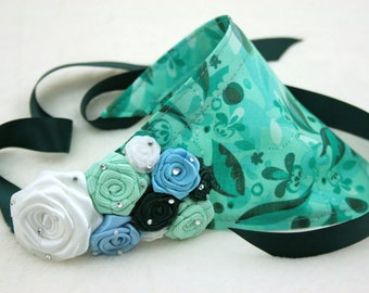 Dog bandana seagreen color and flowers size S
