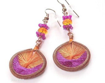 Handmade cotton earrings, copper earrings, orange cotton and pink lurex thread hand weaving, made in Puglia, Valentines gift
