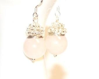 Rose Quartz Earrings, Beaded Drop Earrings,Wire Wrapped Earrings,Rose Quartz Jewelery, Gemstone Earrings