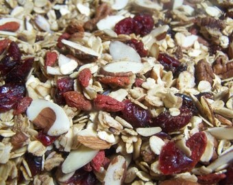 Granola Superfood Goji Berries Dried Cranberries Organic Oats Lakanto Maple Syrup Coconut OIl Cacao nibs Almond Butter Pecans sunflower seed