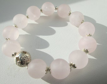 Bracelet Rose Quartz matt with Hill tribe silver ball/romantic/playful/pink/rose/Silver/gift/girls jewelry