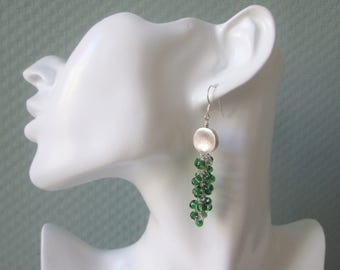 Crochet earrings with green glass beads, hill tribe silver bead/brushed/handmade/gift for you/statement/mother's day/birthday