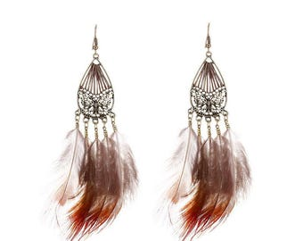 Butterfly & Feather Drop Earrings