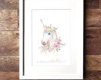 Personalised Unicorn Name A4 Print