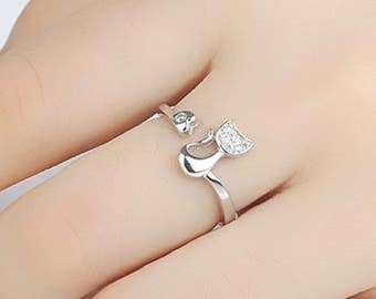 Beautiful Silver Style Cat Ring Diamante Jewellery Kitten Cat Lover - One Size Adjustable