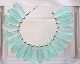 20 piece faceted sky blue chalcedony pear briolette beads 10 x 30 mm approx