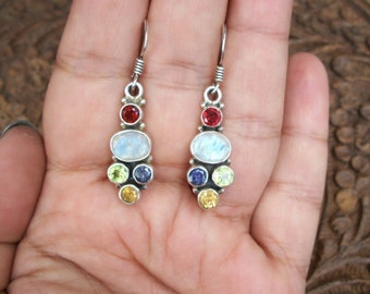 925 Sterling Silver Earrings w Peridot,Rainbow Moonstone,Garnet, Iolite,Citrine