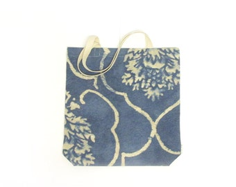 Tote bag in blue coton - grocery bag - ecological and reusable tote bag - extra large bag