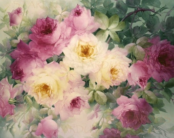 ANTIQUE Floral ArT Print DOWNLOAD Shabby Chic - INSTANT Digital Vintage Painting - Art To Frame Junk Journal Altered Art Frameable no1362