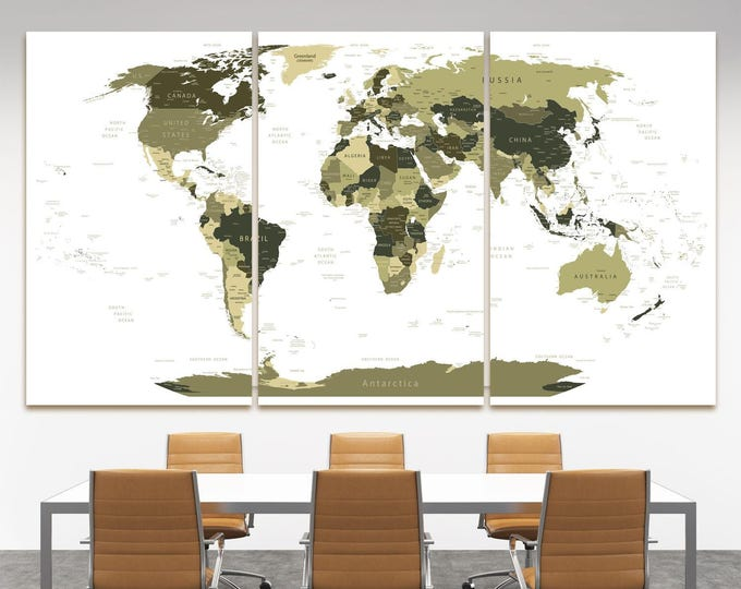 Large olive drab world map with country names decor canvas, Dark digital travel world map with countries names canvas set of 3 or 5 panels