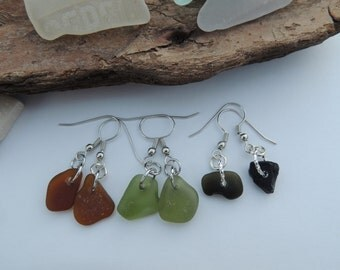 Black, Olive Green and Amber Sea Glass Danlge Earrings, Authentic Sea Glass
