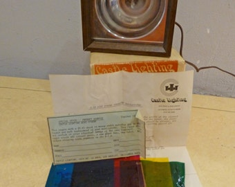 Vintage Adjustable Strobe by Castle Lighting Original Box, Paperwork, and colored sheets Party Ready!