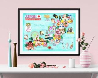 Japan Map Etsy - Japan map poster