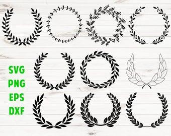 Laurel SVG Wreath monogram Cut files Laurel leaf wreath Commercial use ok